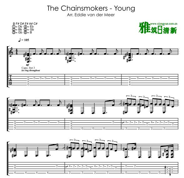 Eddie Van Der Meer版 The Chainsmokers - Young指弹吉他谱