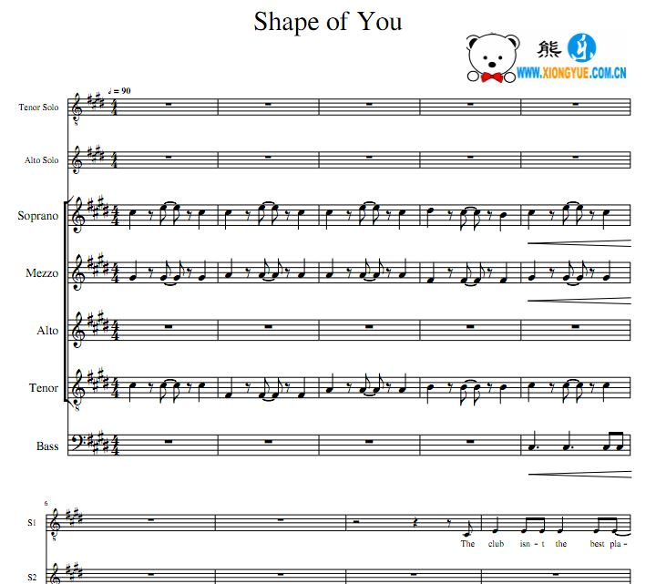 Shape of You A Capella阿卡贝拉谱 TASMATB