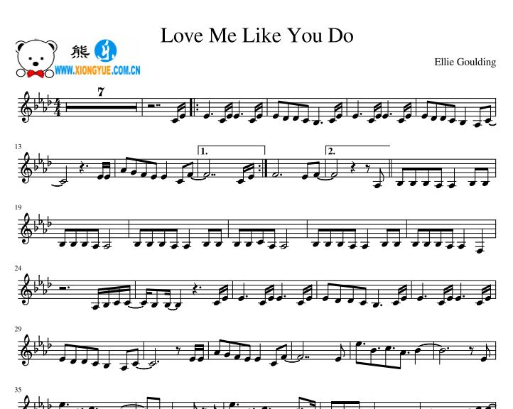 Ellie Goulding - Love Me Like You Do中音萨克斯谱