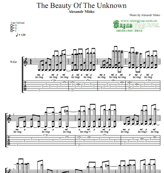 Alexandr Misko版  The Beauty Of The Unknown指弹吉他谱