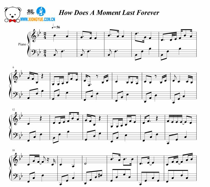 how does a moment last forever piano sheet music pdf