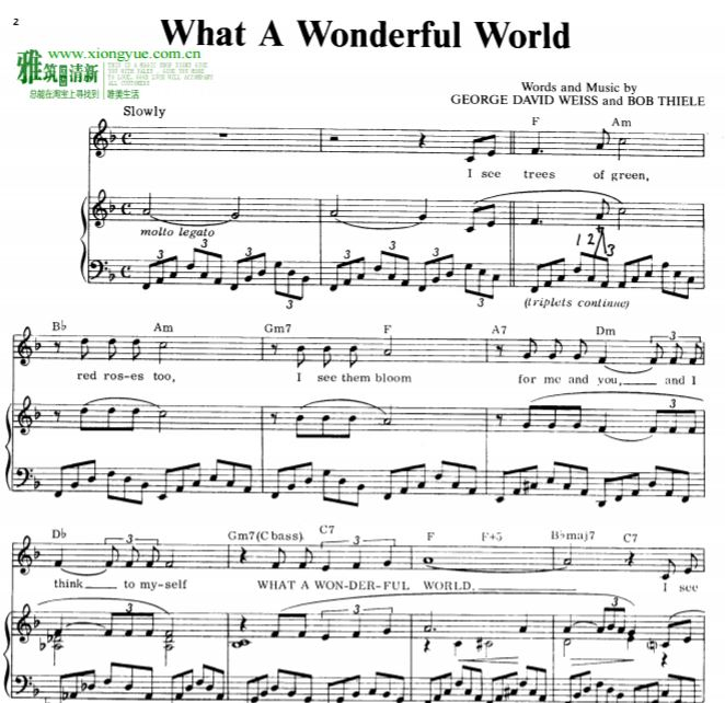 Louis Armstrong-What a Wonderful World钢琴谱