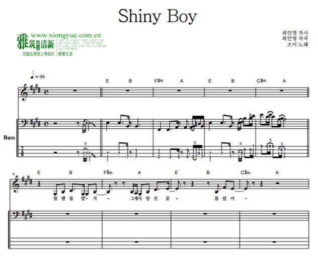 drum pads谱子bad boy- Shiny Boy贝司谱  韩国流行音乐贝司谱Tab谱   楽谱   五线谱   钢琴谱