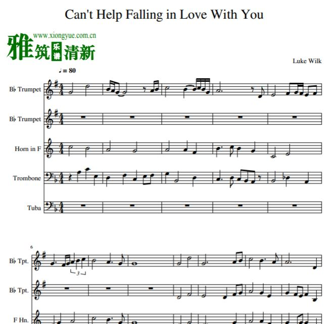 Can't Help Falling in Love With You铜管五重奏谱