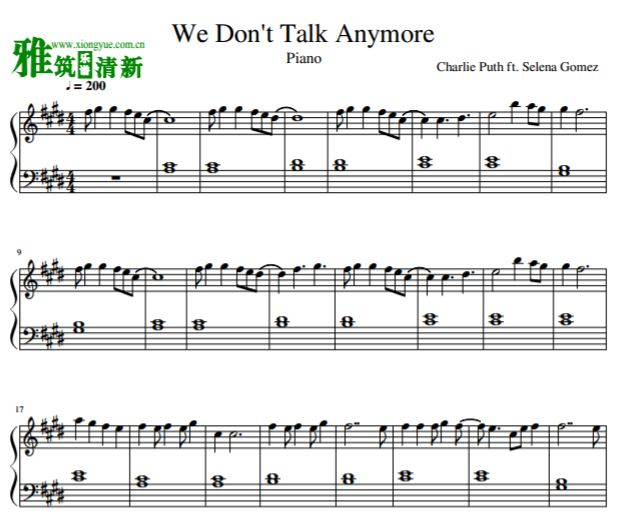 We Don't Talk Anymore钢琴独奏谱