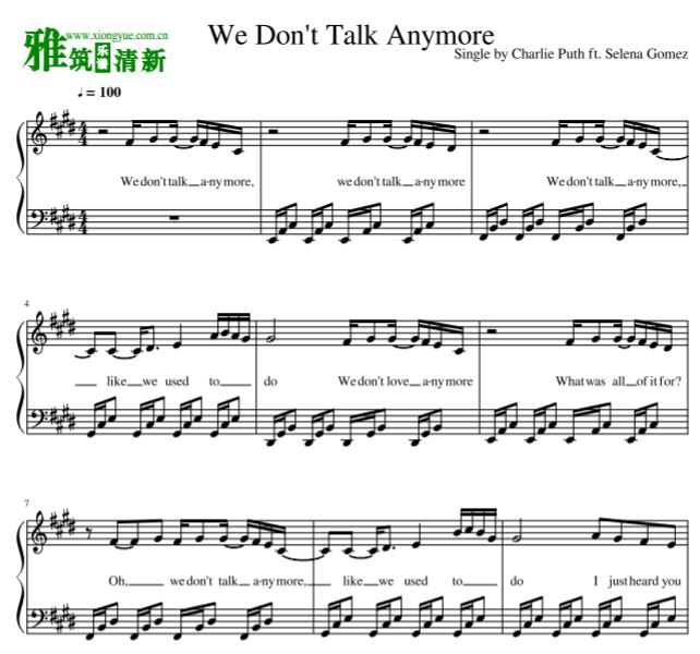 Charlie Puth - We Don't Talk Anymore钢琴谱 带歌词