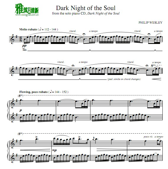 Philip Wesley - Dark night of the soul钢琴谱