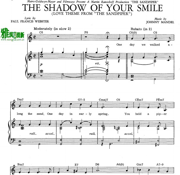 the shadow of your smile钢琴伴奏谱