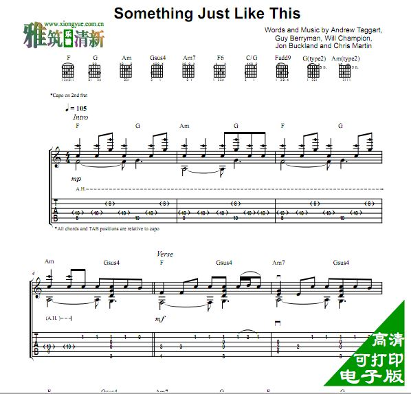 somethingjust吉他谱_andrew foy - something just like this吉他谱