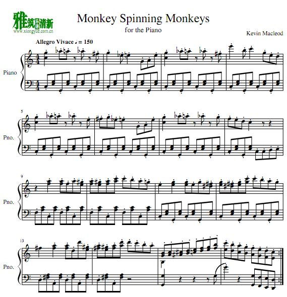Kevin Macleod - Monkey Spinning Monkeys钢琴谱