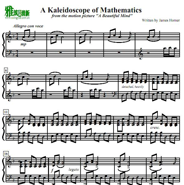 美丽心灵 A Kaleidoscope of Mathematics钢琴谱