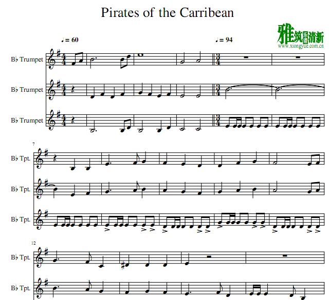 加勒比海盗小号三重奏谱 Pirates of the Carribean