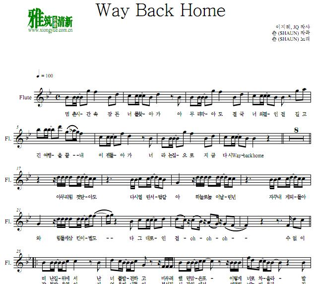 SHAUN - Way Back Home长笛谱
