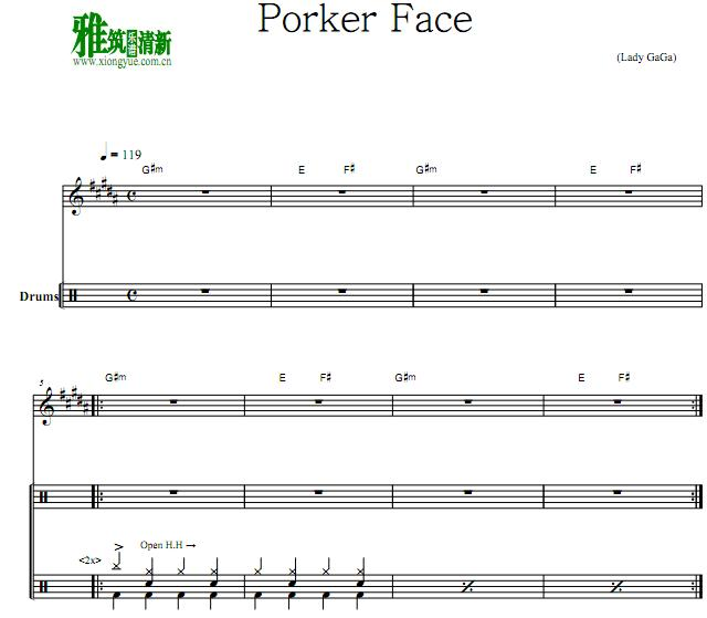 Lady GaGa - Poker Face鼓谱