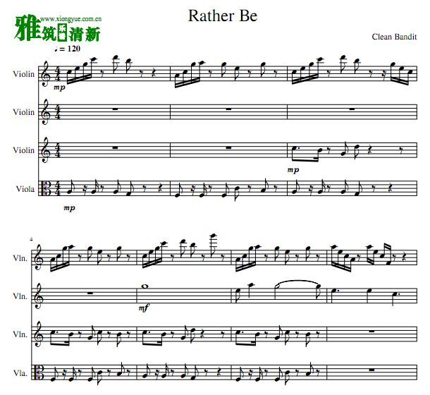 Rather Be 中提琴小提琴四重奏谱