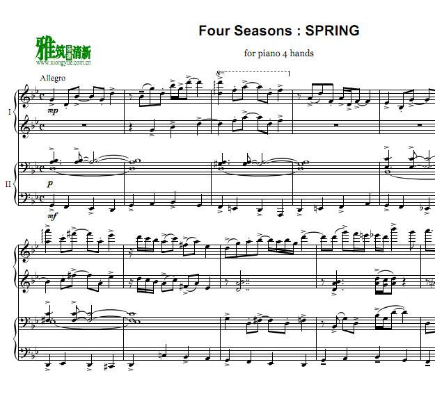 皮亚佐拉 Piazzolla Four Seasons spring四手联弹谱