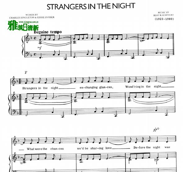 Frank Sinatra - Strangers In The Night钢琴谱声乐谱