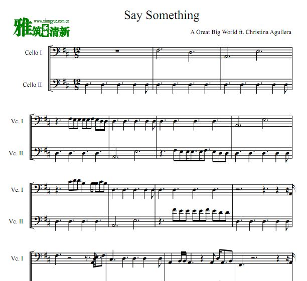 Say Something 双大提琴合奏谱