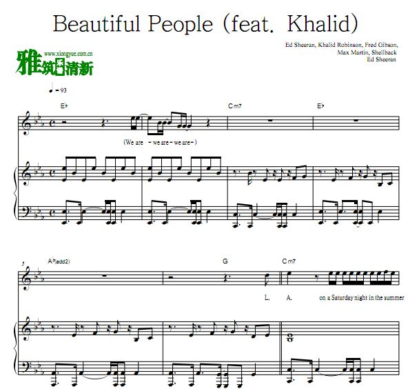Ed Sheeran - Beautiful People (feat. Khalid)弹唱钢琴谱 歌谱