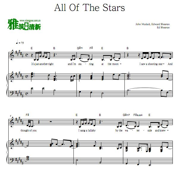 Ed Sheeran - All Of The Stars钢琴弹唱谱