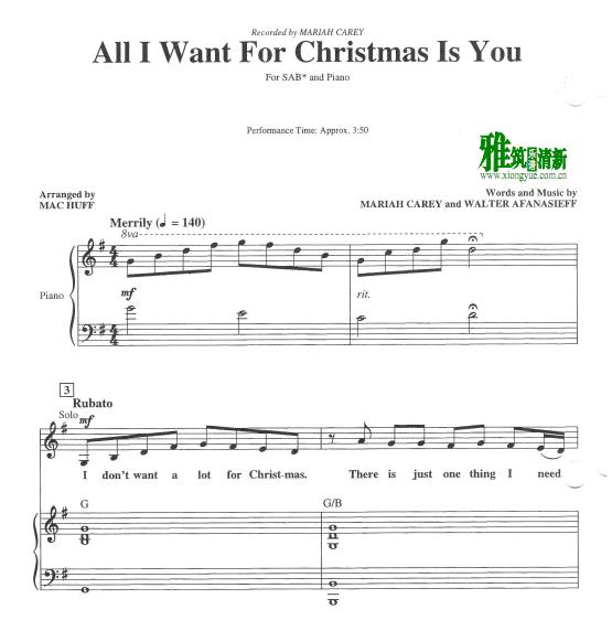 All I Want For Christmas Is You 三声部SAB合唱钢琴伴奏谱1