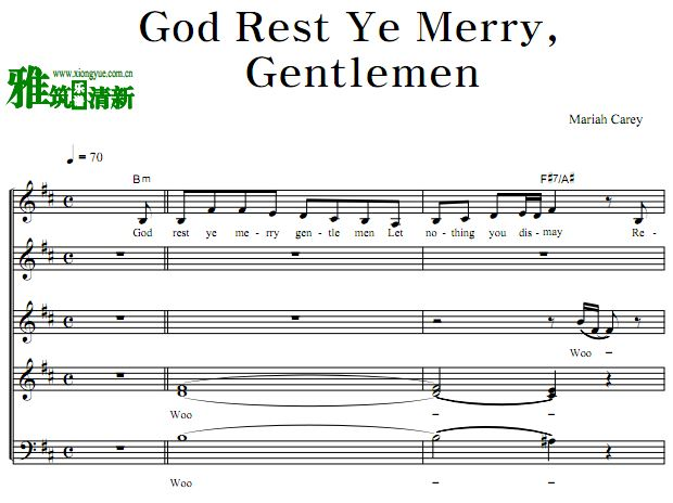 Mariah Carey - God Rest Ye Merry Gentlemen阿卡贝拉合唱谱