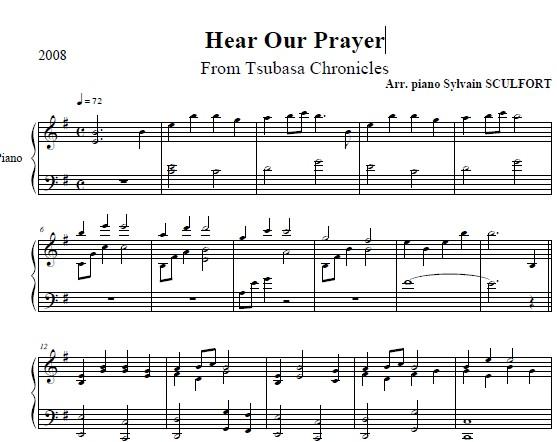 翼 年代记钢琴谱Hear Our Prayer 界面预览 熊乐