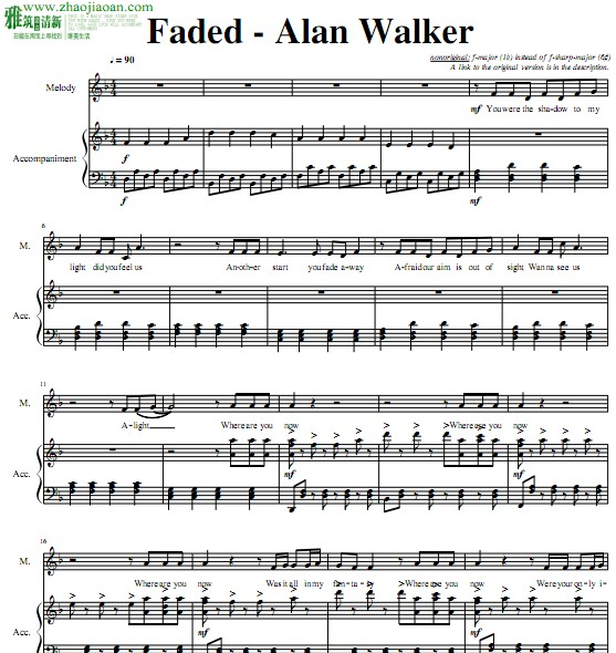 feded简谱|能不能告诉我faded钢琴简谱数字谱-faded钢琴谱数字简谱